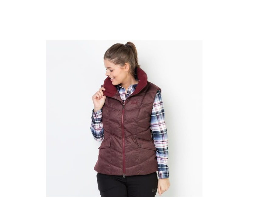 Jack Wolfskin Baffin Bay Vest Womens Gilet - Dark Red