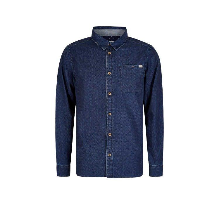 Weird Fish Trigger Geo Print Long Sleeve Shirt - Ensign Blue