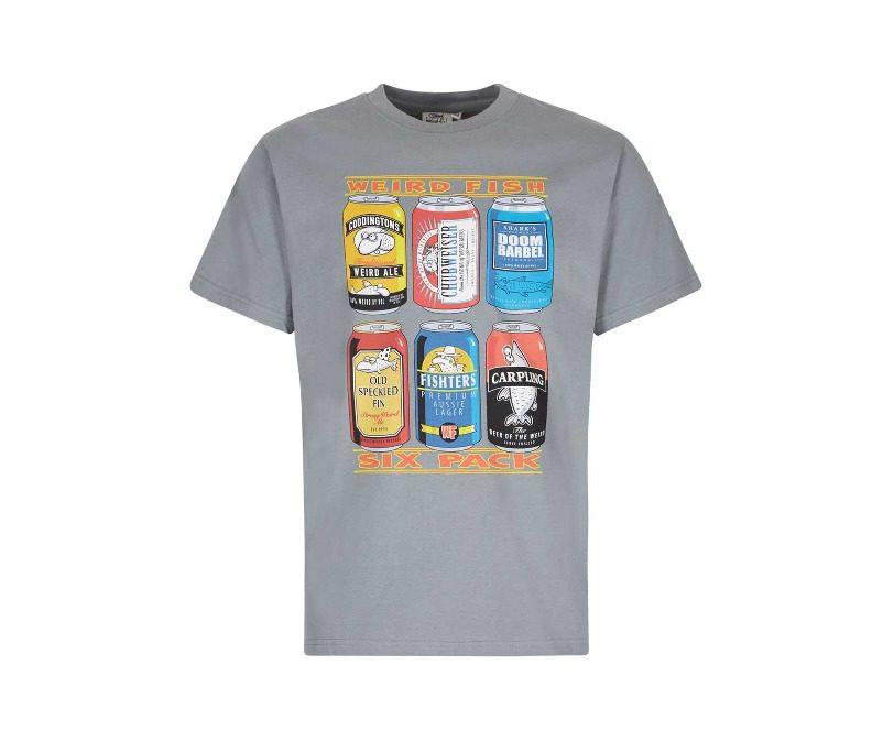 Weird Fish 6 Pack Beer Cans Artist T-Shirt - Grey Blue
