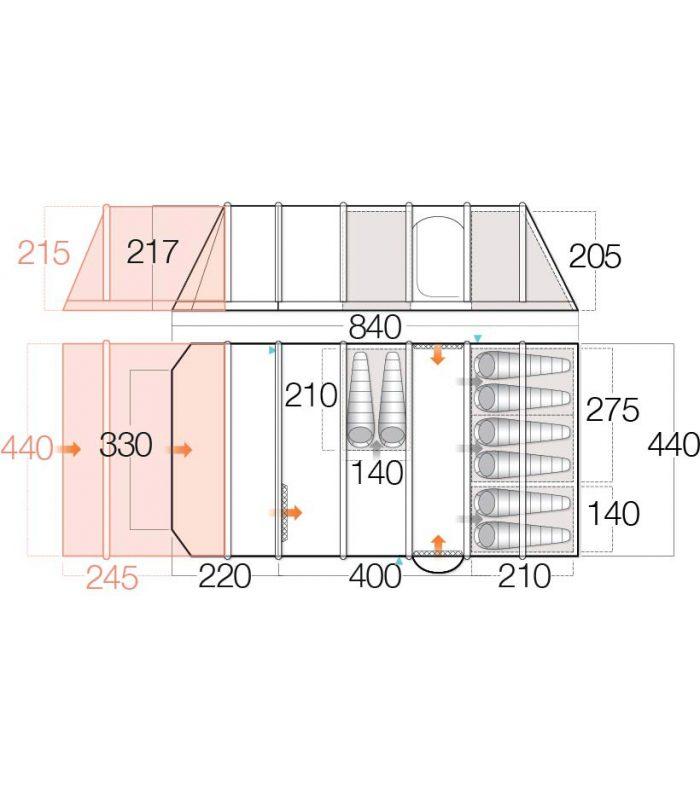 Vango Inspire 800Xl Air Tent 2018 Floor Plan W Ext