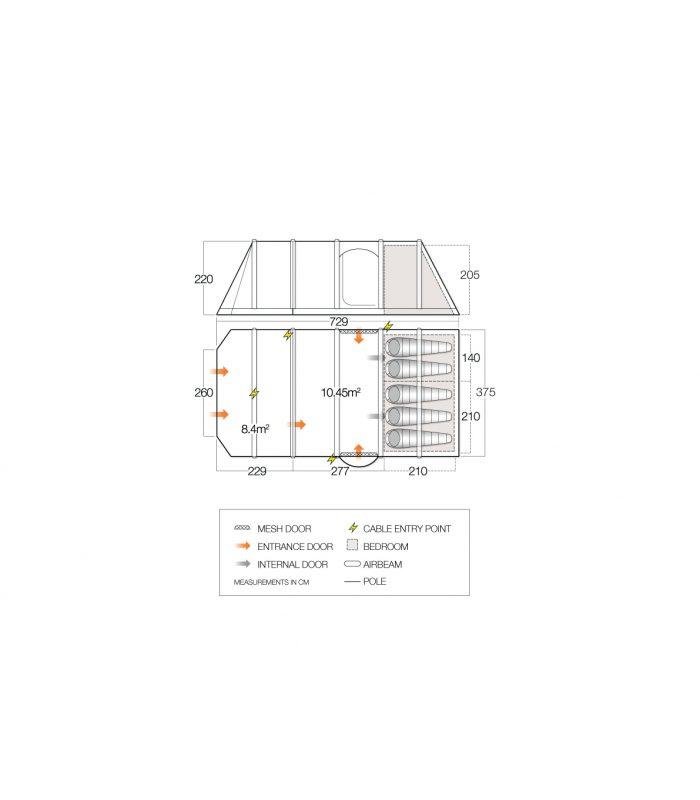Vango Illusion Tc 500Xl Airbeam Tent 2018 Floor Plan