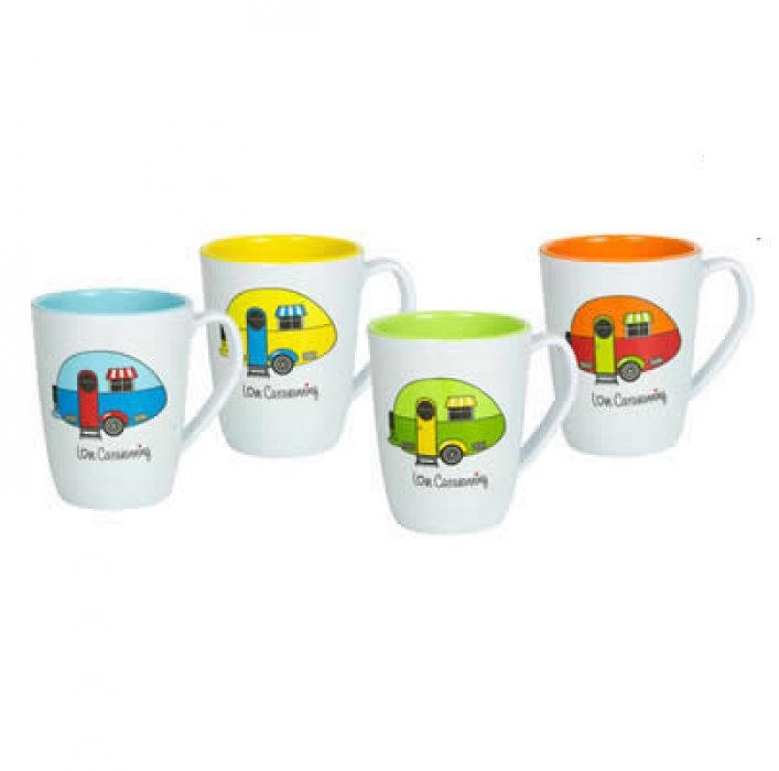 Flamefield Love Caravanning 4 piece mug set