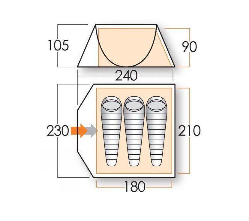 Vango Pop 300DS tent floorplan