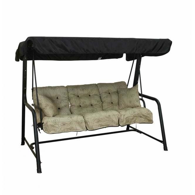 Glendale Nancy Noir 3 Seater Black Frame Swing Seat P4603 41629 Medium