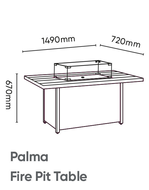 Palma Fire Pit Table Dimensions