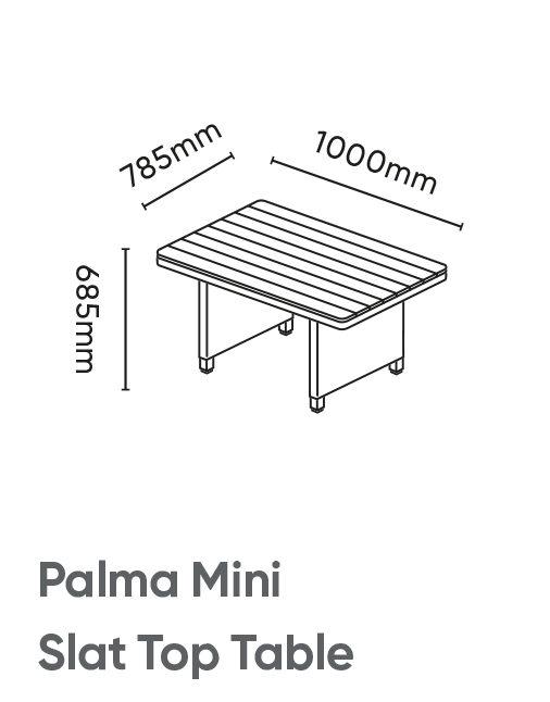 Palma Mini Slat Top Table Dimensions