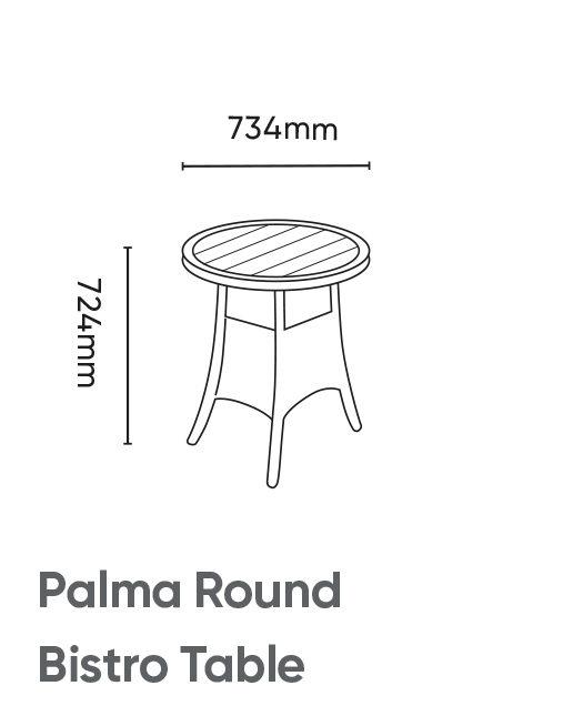 Palma Round Bistro Table Dimensions