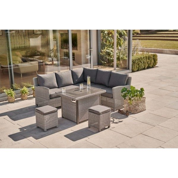 Kettler Palma Mini Set with Firepit Table - White Wash