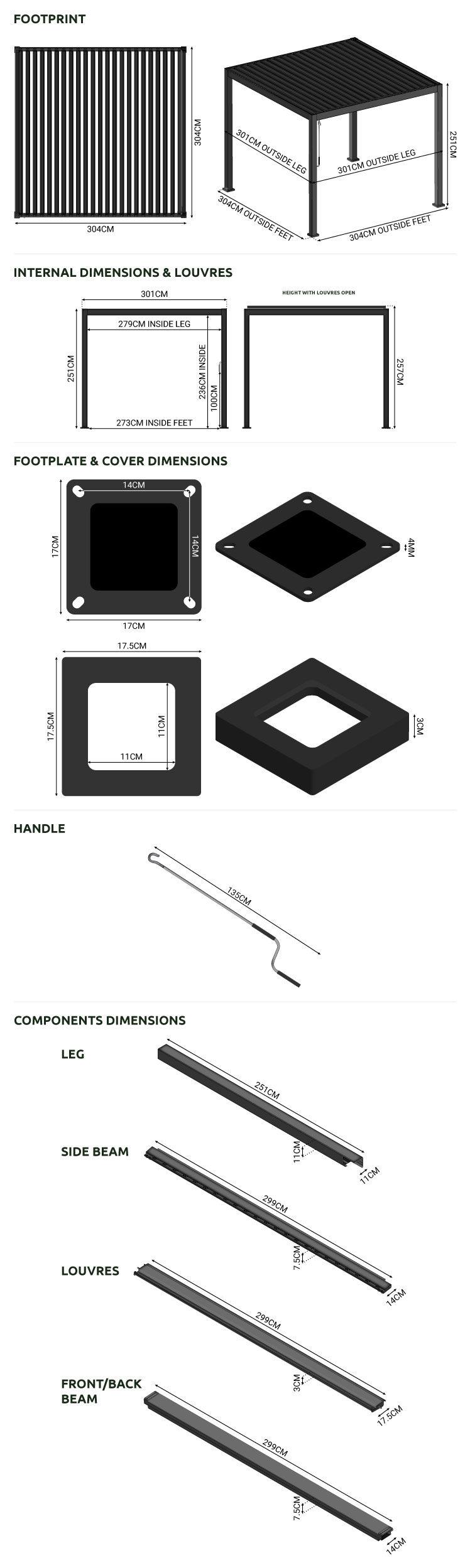 Nova Titan 3m Square Aluminium Pergola - Grey