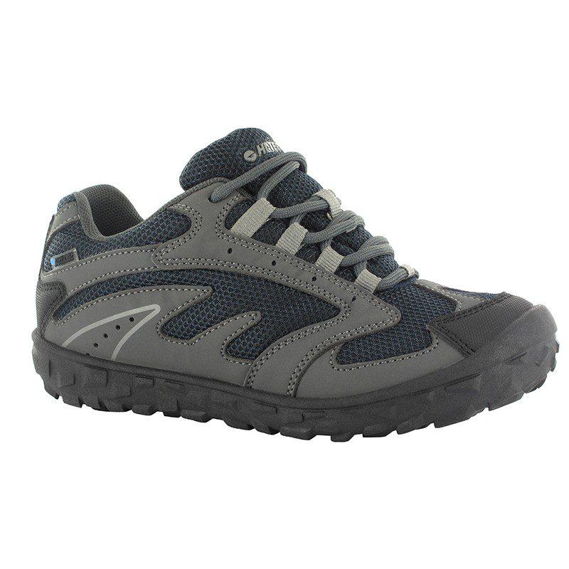 Hi-Tec Meridian Low Waterproof Junior Multisport Shoe in Charcoal, Navy & Light Grey