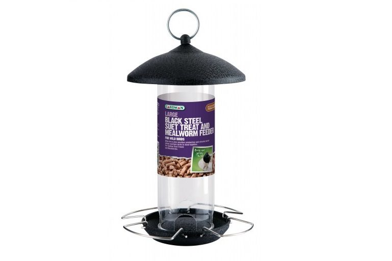 Large Black Steel Suet Treat and Mealworm Feeder