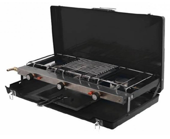 GB Camping Foldaway Double Burner and Grill