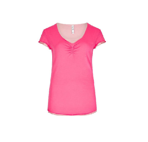 Weird Fish Women's Vijay Double Layer T-Shirt - Hot Pink