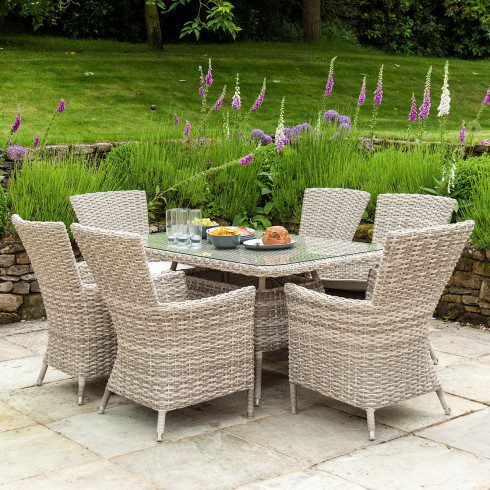 Alexander Rose Kool Pearl 6 Seater Dining Set - Rectangular Table