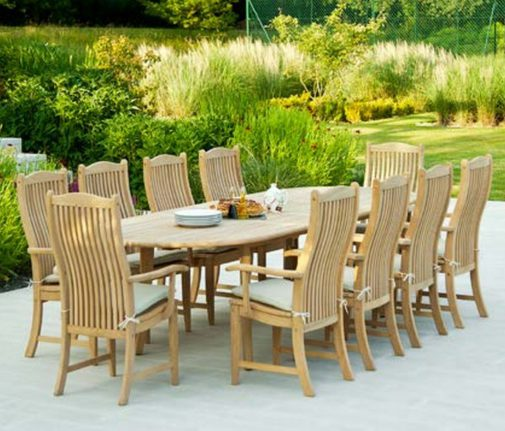 Alexander Rose Roble Extending Table with 10 Bengal Chairs