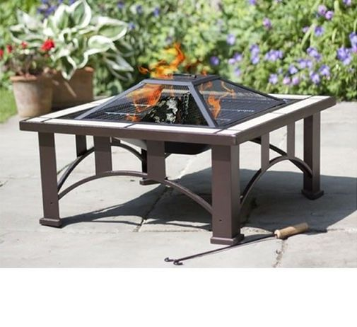 La Hacienda Venice Bronze Tiled Steel Firepit With Grill