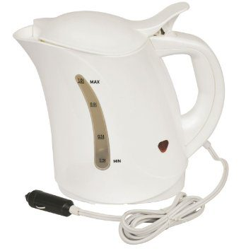 12v 1 Litre Travel Kettle  Ideal for use when camping, caravanning and in cars, vans, trucks and boats  Perfect for day trips  Makes 3 cups, boils a full kettle in around 20 minutes