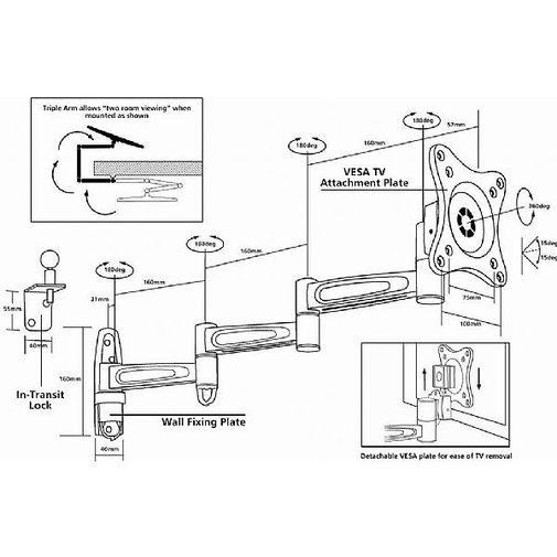 vision plus single arm wall bracket 1