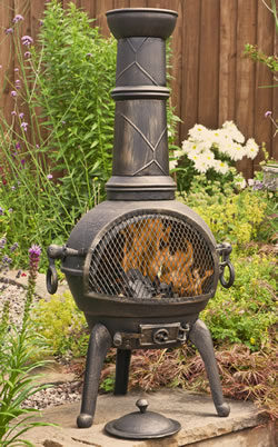 La Hacienda Sierra Large Cast Iron Chimenea with Grill Bronze Effect