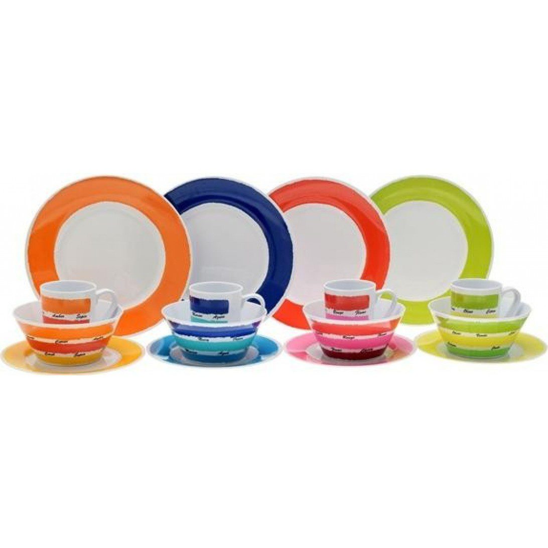 Flamefield 16pc Colourworks Melamine Set