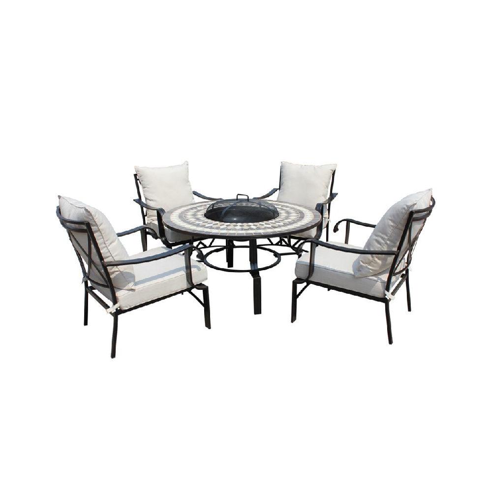 Leisuregrow Outdoor Casablanca 4 Seat Garden Firepit & Dinning set