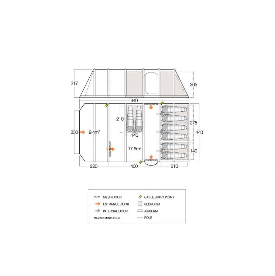 Vango Inspire 800 xxl floorplan