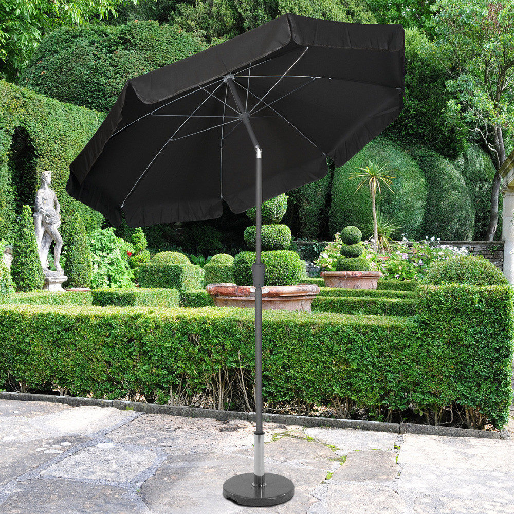 Norfolk Leisure 2.7m Black Crank and Tilt Parasol