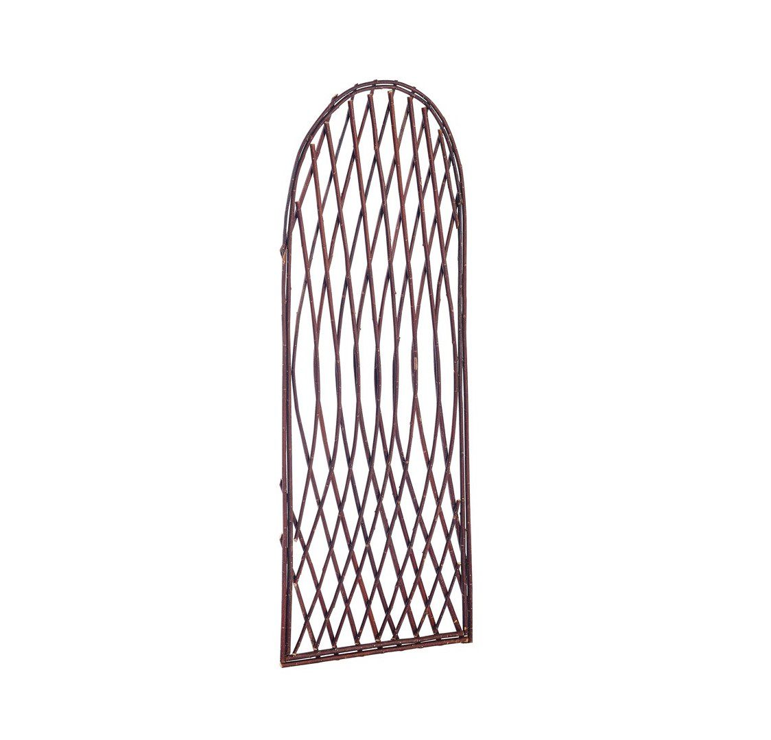 GARDMAN 1.8M X 0.6M FRAMED WILLOW LATTICE TRELLIS PANEL - CURVED TOP