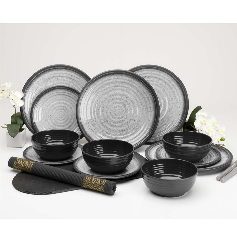 Flamefield Granite Grey 12 piece melamine set