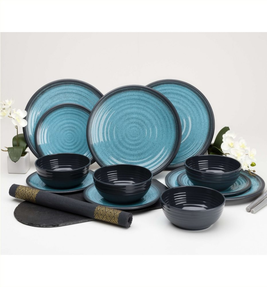 Flamefield Granite aqua melamine set