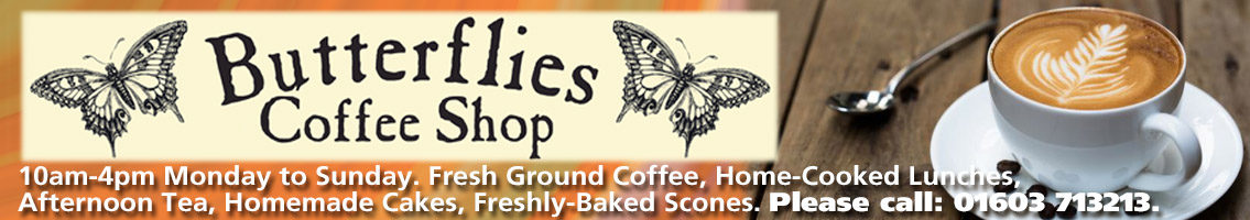 Butterflies coffee shop banner