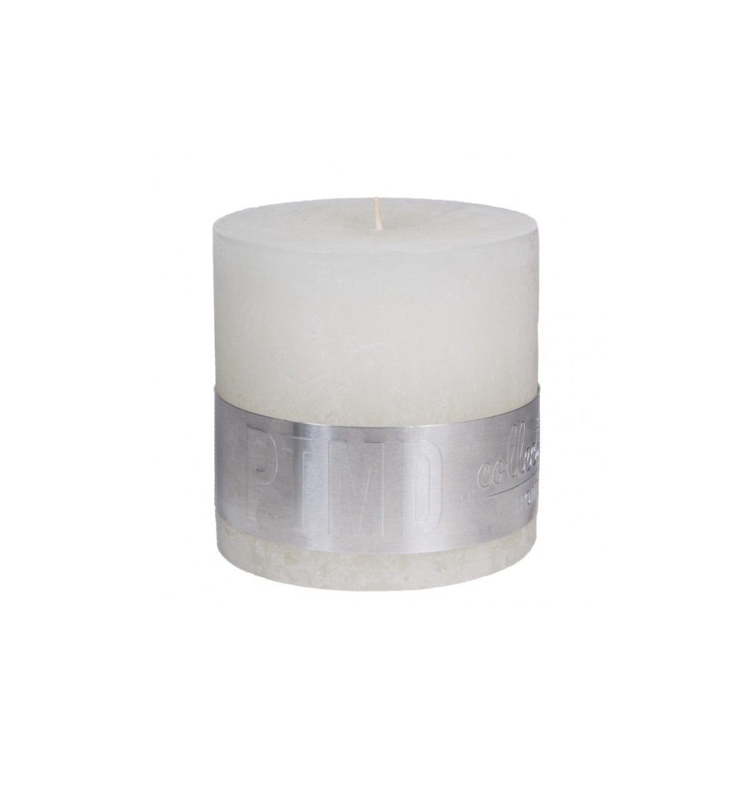 Rustic Hot White Block Candle 10 X 10 Cm Ptmd Collection 205 1