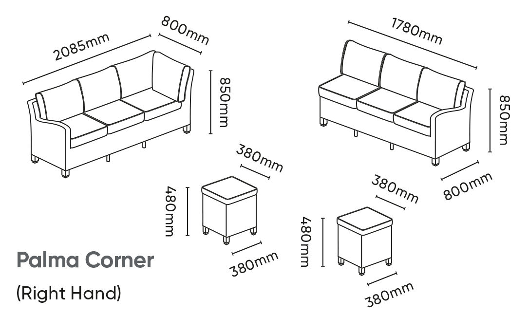 Palma Corner Rh Dimensions