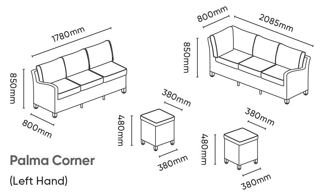 Palma Corner Lh Dimensions