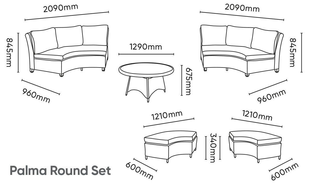Palma Round Set Dimensions