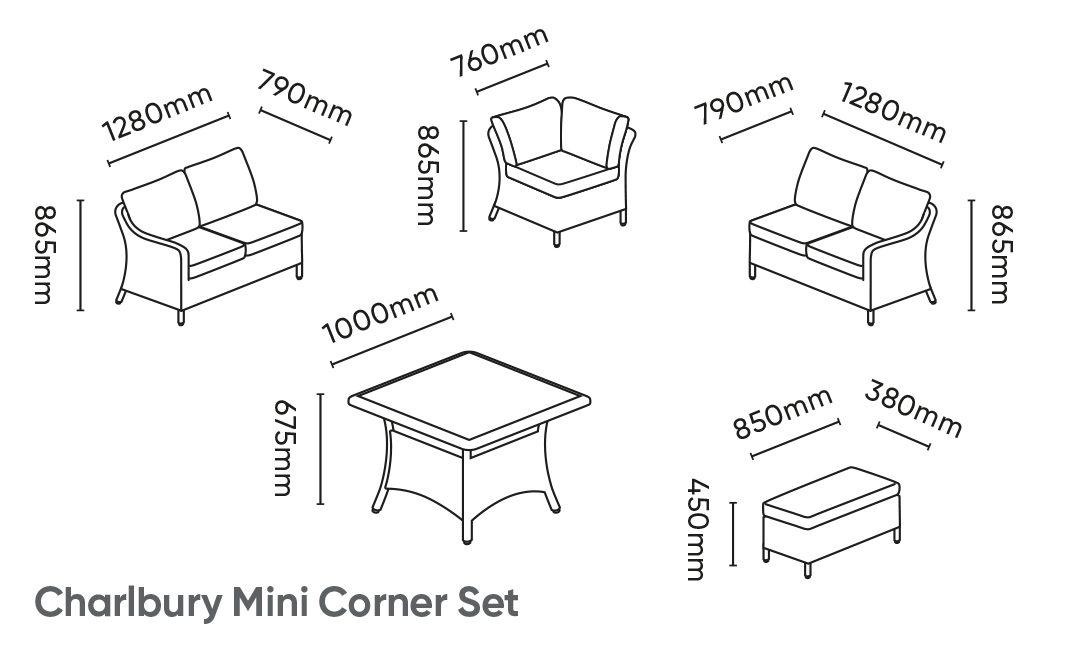 Kettler Charlbury Mini Corner Set Dimensions