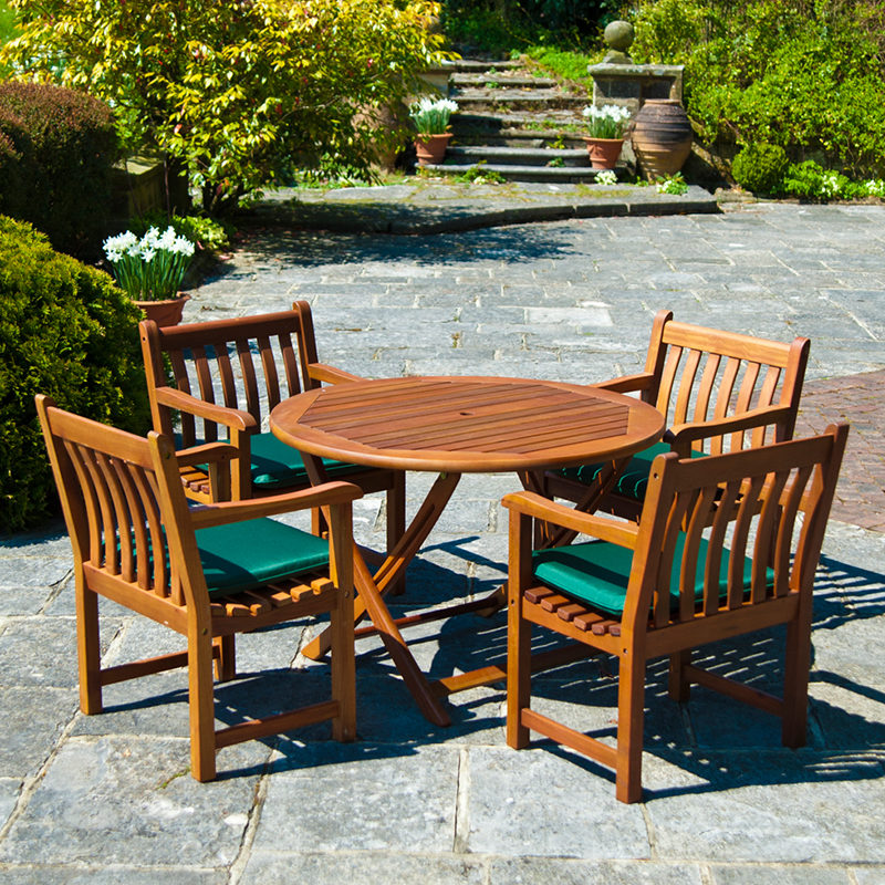 Alexander Rose Cornis 1.1m Folding Table with 4 Broadfield Armchairs