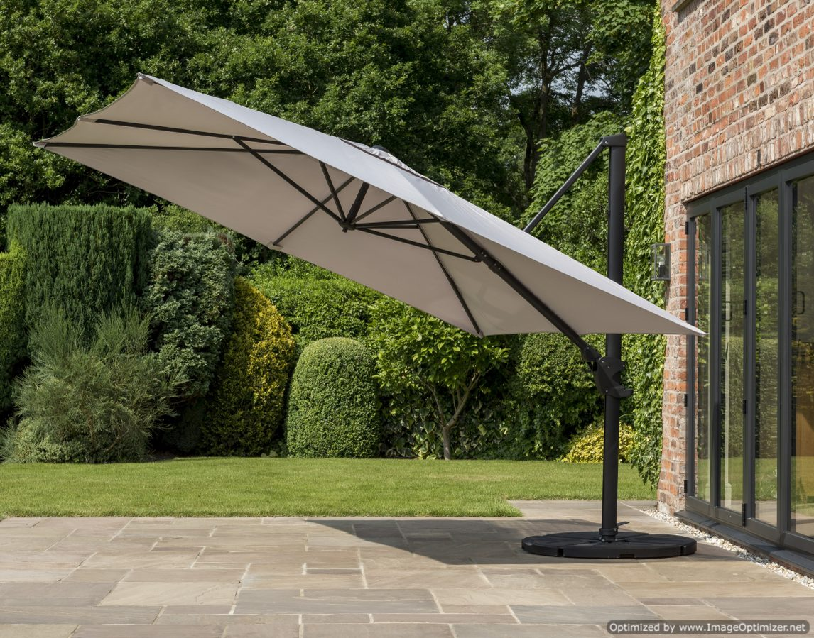 Norfolk Deluxe Cantilever Parasol 3x3m Square - Mouse Grey