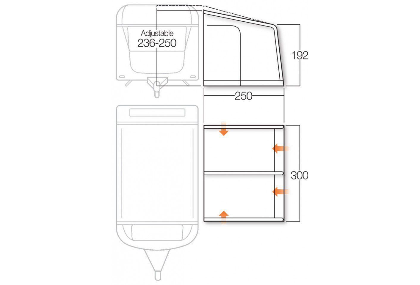 Vango Braemar II 300 awning floorplan 2018