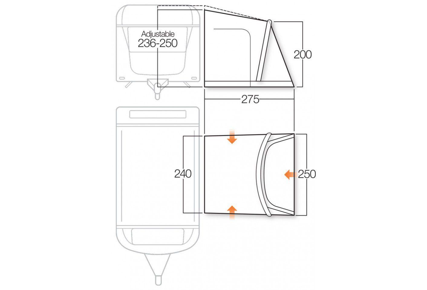 Vango Rapide II 250 awning floorplan 2018