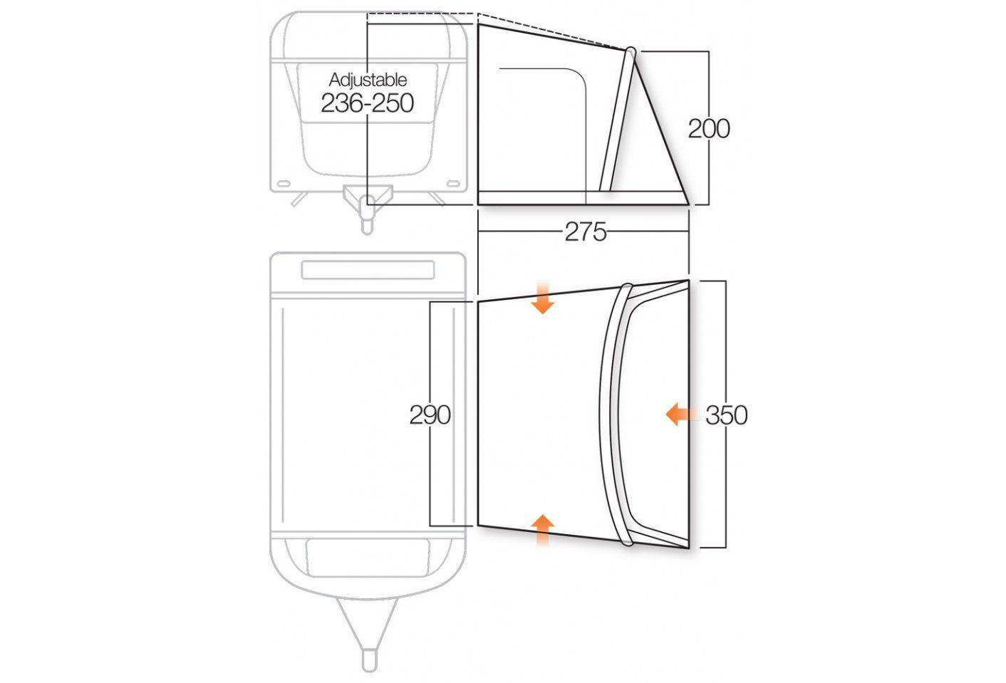 Vango Rapide II 350 awning floorplan 2018