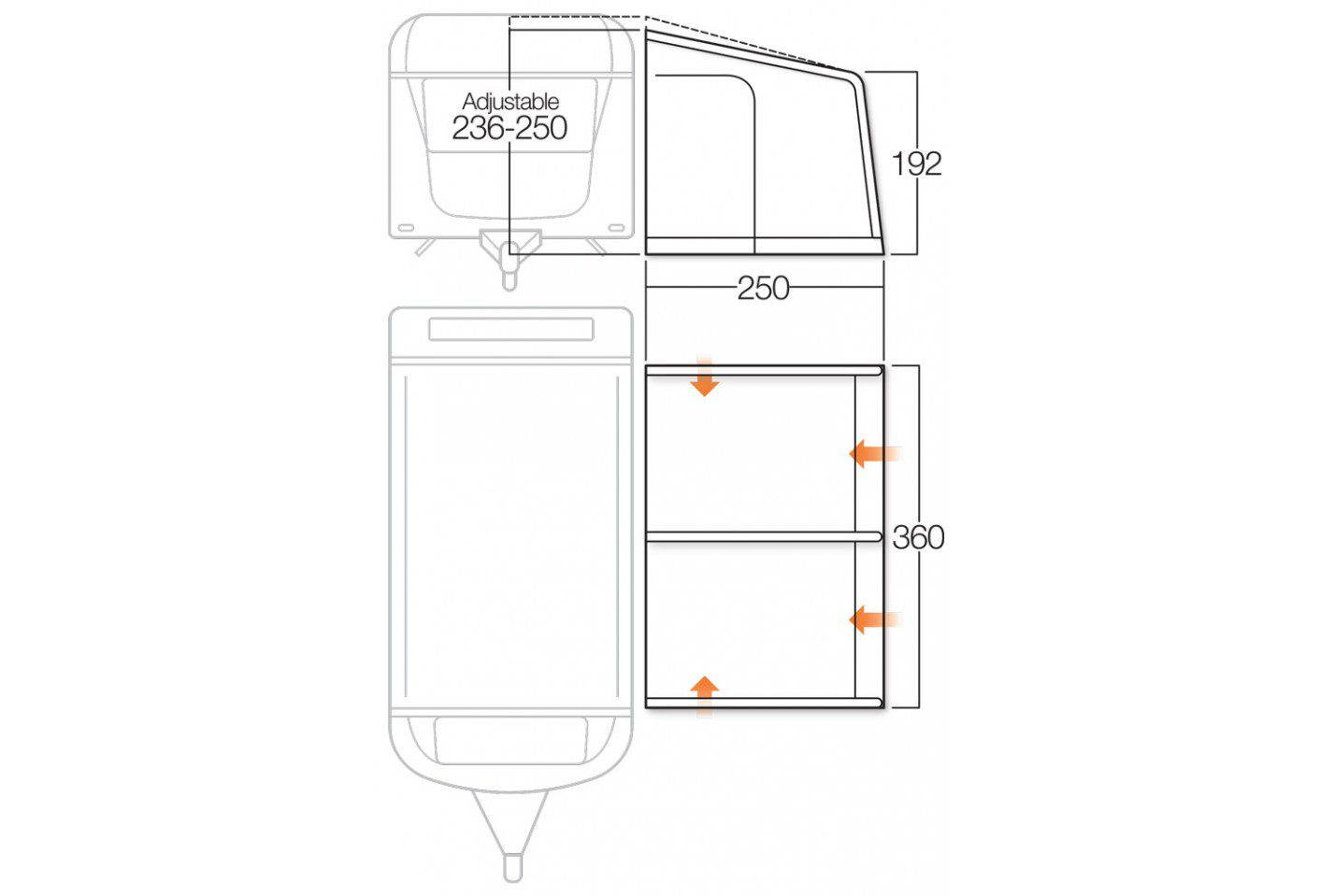 Vango Varkala III 360 awning floorplan 2018