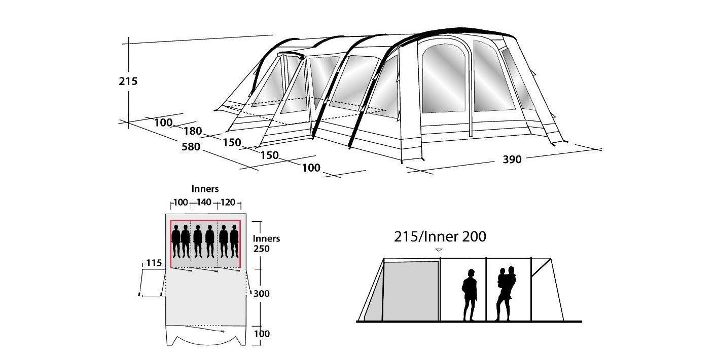 Outwell Hornet 6SA Tent floorplan 2018