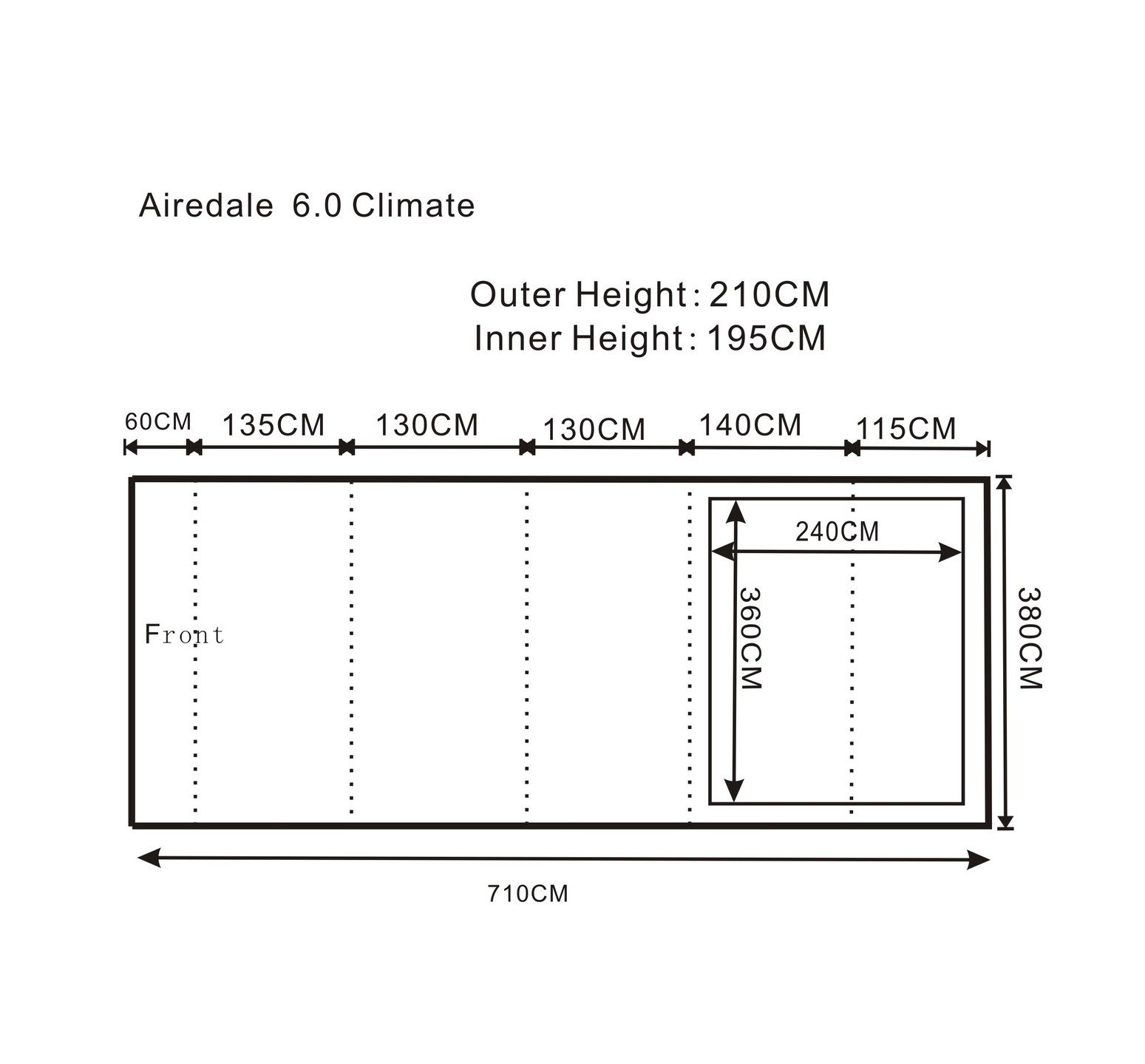 Outdoor Revolution Airedale 6 climate floorplan