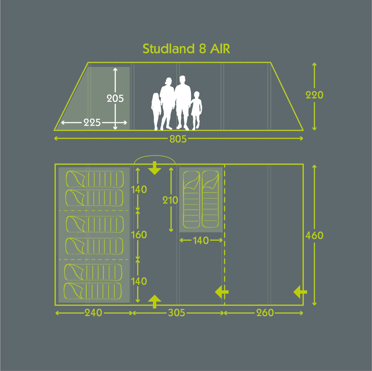 Tent Floor Plan Studland 8 Air Norwichcamping