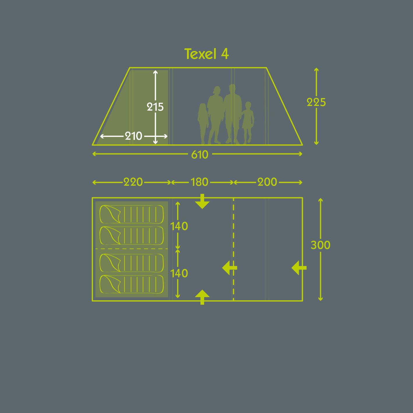 Kampa Texel 4 Tent floorplan