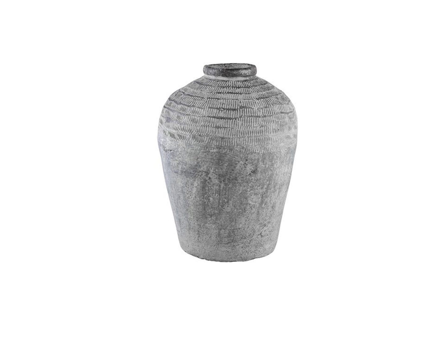 Ptmd Collection Nuo Grey Cement Jug Round Small Border 678100 Large Woonaccessoires