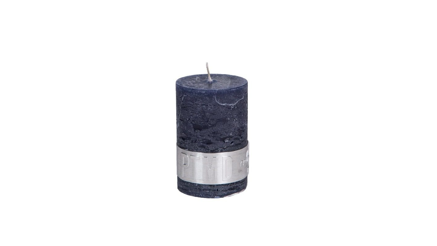 Rustic Night Blue Pillar Candle 6x4 + background