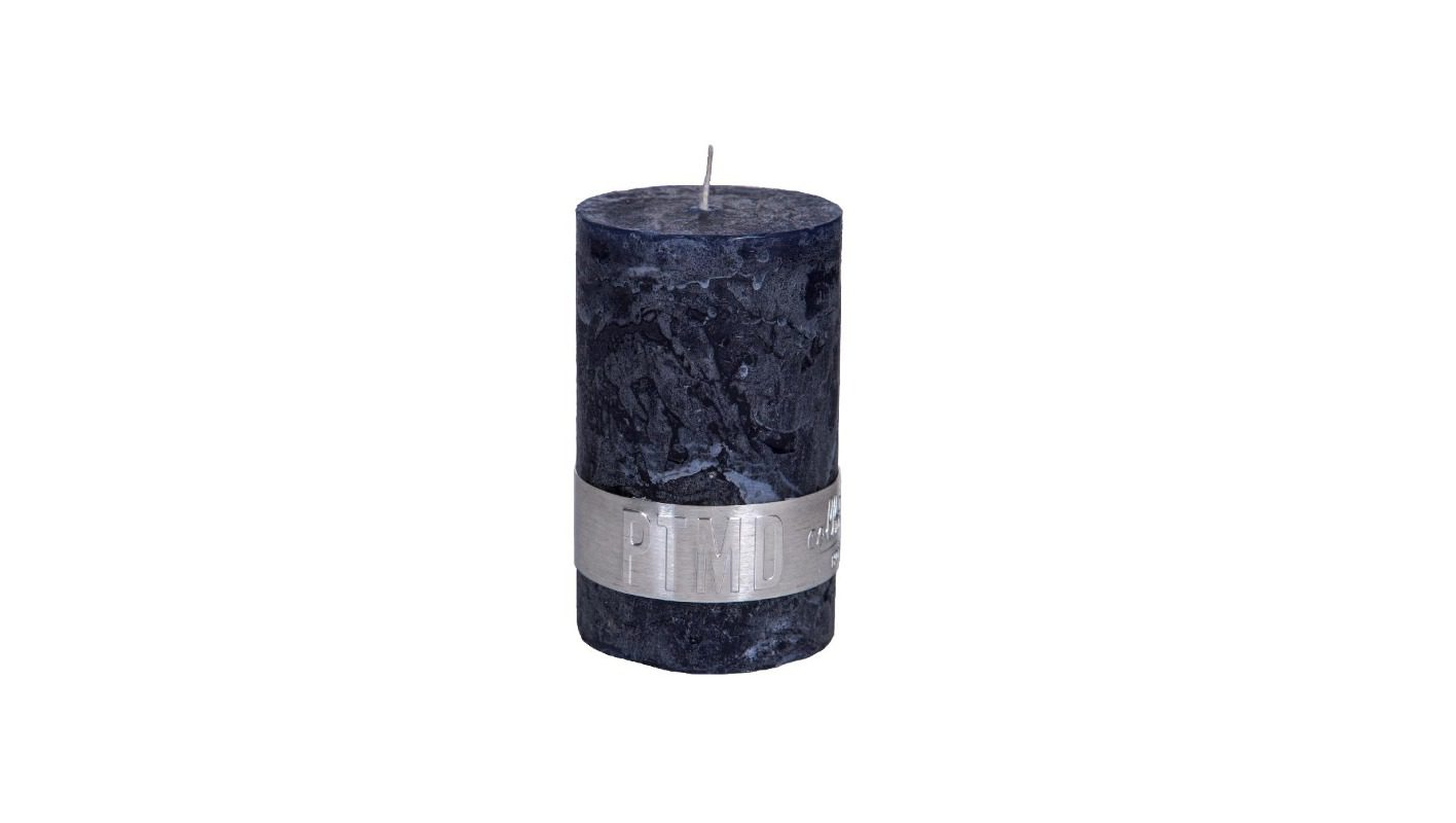 Rustic Night Blue Pillar Candle 8x5 + background