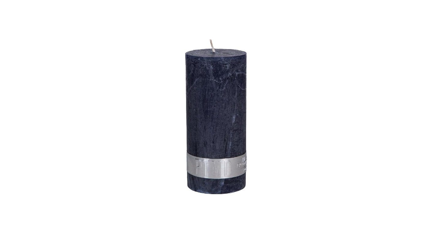 Rustic Night Blue Pillar Candle 12x5 + background